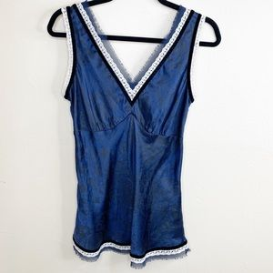 Rachel Roy silk lace velvet trim V tank blouse top